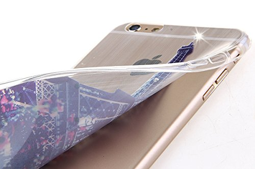 Durchsichtig Huelle für iPhone 5S, Felfy luxus Ultra Slim Bling Shiny Sparkle Diamant Dünnen Apple iPhone 5S 5 Cool Love Heart Muster Weiche Flexible Gel TPU Handy Tasche Back Case Cover Protective Zu Eiffel Tower