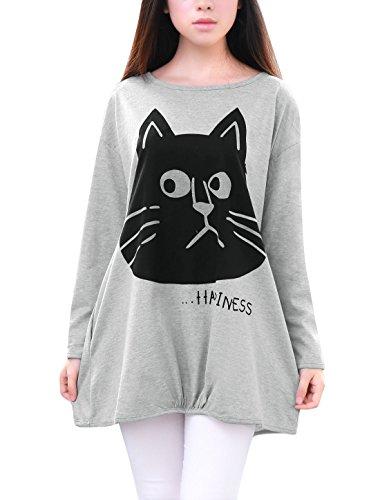 Allegra K Damen Langärmelig Cat Bedruckt T-shirts Freizeit Locker Locker Oben Grau