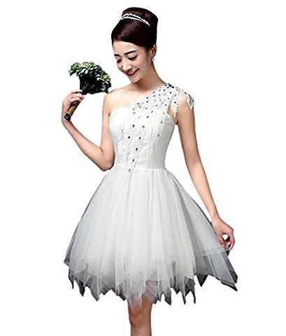 Honeystore Damen's A-Linie/Princess-Linie Herzausschnitt Eine Schulter Knielang Tüll Brautjungfernkleid Abendkleid mit Rüschen Pailletten Weiß (Kostüm Farbige Kontakte Günstige)