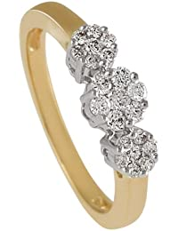 Diamond Line Damen - Ring 585er Gold 21 Diamanten ca. 0,40 ct, gelbgold