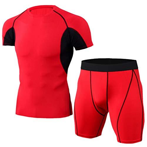 Setsail Herren Elastic Fitness T-Shirt Schnell trocknend Tops Kurze Hosen Sport Enger Modischer Sets