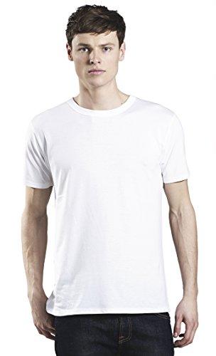 Premium-Maglietta girocollo a maniche corte da uomo, in cotone, in Tencel, un uso quotidiano, con i bestseller bianco Medium