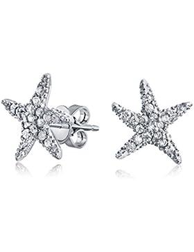 Bling Jewelry CZ Seestern Pavé Bolzen aus 925er Sterling-Silber Ohrringe