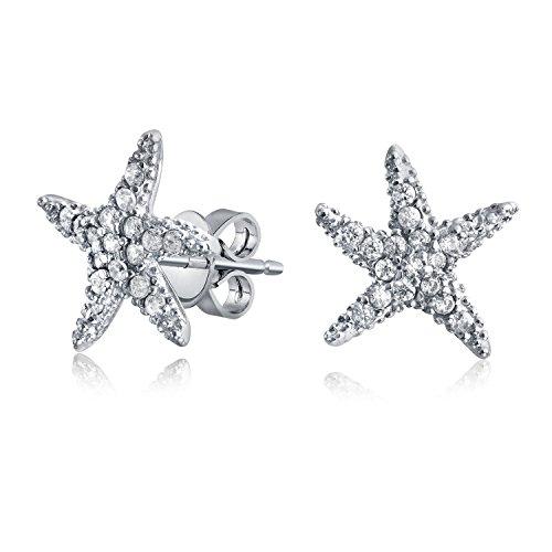 Bling Jewelry CZ Starfish ebnen Stud 925 Sterling Silber Ohrringe (Cz Stud Ohrringe Sterling Silber)