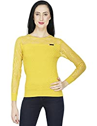 SVT ADA COLLECTIONS Mustard Knitted with NET Sleeves n Yoke Designer Women TOP (025421_Mustard_Medium)