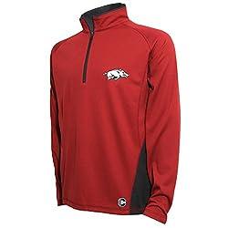NCAA Arkansas Razorbacks Men's Textured Quarter Zip Pullover, Large, Cardinal/Carbon