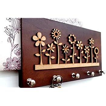 The Grandeur Modern Flower Key Holder with 5 Hooks, Brown in Color, Size of 25cm X 13cm