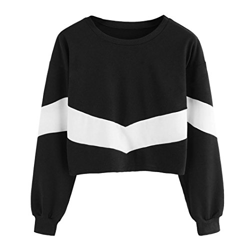 Glücklich Crewneck Sweatshirt (Internet Damen Langarm Patchwork O-Ausschnitt Sweatshirt Kapuzen Tops Bluse (S, Schwarz))