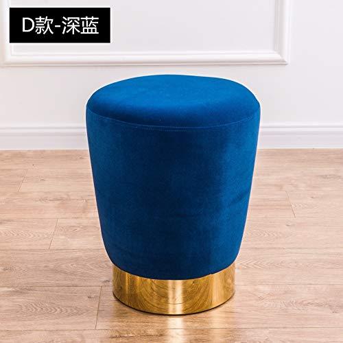Pro-Xions Neue Haushalt Low Foot Hocker Rund Kleine Metall Bank Wiederbelebung Kinder/Kinder Stuhl Wohnzimmer Kleine Teetisch Sofa Stoff (Color : D deep Blue)