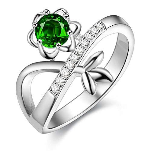 CBLXN Ring damen Design Green Floral Glamour Zirkon 925 Silber überzogene Ring Schmuck, Damen Ring Kostüm JewelryJoint Ring Finger Damen Ring Schmuck (Cocktail Ringe Kostüm)