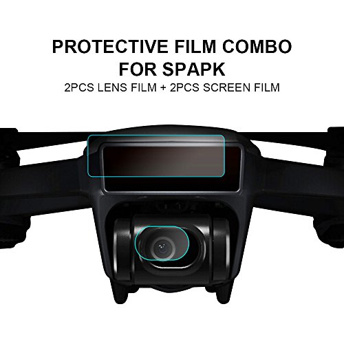 Preisvergleich Produktbild High Definition & High Transmittance Glas Film Staubdicht Schutz für DJI Spark Drone: 2 Stück Kamera Objektiv Glas Film + 2pcs Drone Body Screen PET Film
