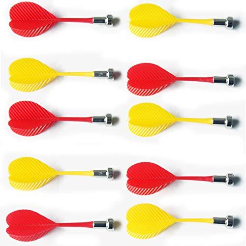Bibetter magnetische Dartpfeile für Magnet-Dartboard 12 Stück, Ersatz langlebige Sicherheits-Kunststoff-Dartpfeile für Magnet-Dartboard (Rot x 6 und Gelb) x 6