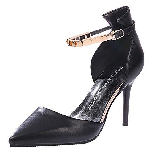 Minetom Donne Moda Cinturino Alla Caviglia Stilettos Scarpe A Punta Scarpe Tacco Alto Sandali Nero 34