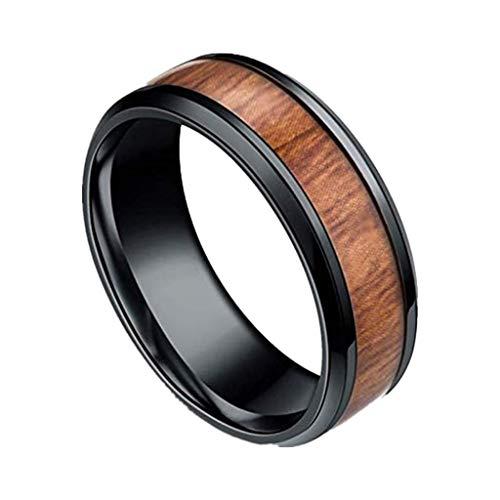 Gkmamrg Damen Herren Edelstahl Holz Ring 8mm Biker Holzschmuck Ehering Hochzeitsband Bandring Trauringemit Ketten 60cm Silber für Männer Frauen (Männer-holz-ring)