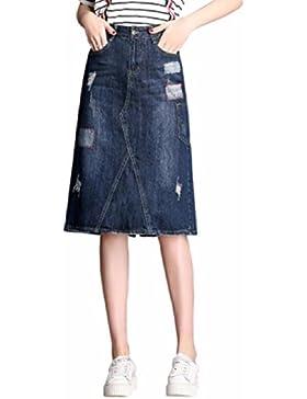 QPSSP Split Cintura Falda De Mezclilla, Largo De Cintura Alta Cintura Falda Falda, Vestido De Mujer