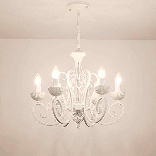 PIAOLING Europäische einfache Leuchter hängende Lichter, warme Kinderzimmer Prinzessin Zimmer Restaurant Wohnzimmer dekoriert Kronleuchter (Color : White) -