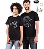 Pärchen T-Shirts Set Shirts für Paar Partner Look Baumwolle Liebhaber Pizza Tshirt (schwarz-Herr-XXL+Dame-S)