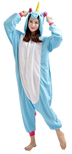 YARBAR Tier Onesies Karneval Halloween Kostüm Nachtwäsche Cosplay Pyjama Erwachsene Unisex Kigurumi Jumpsuit neue Blaue Einhorn (Maske Kostüm Kigurumi)