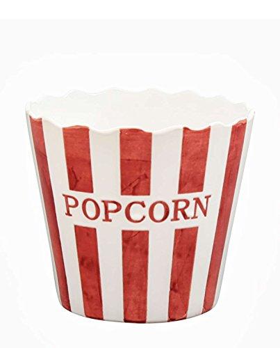 Krasilnikoff - Popcorn Schale, Schüssel - Rot mit weißen Streifen - Stripe - Keramik - Höhe: 16 cm - Popcorn, Schüssel