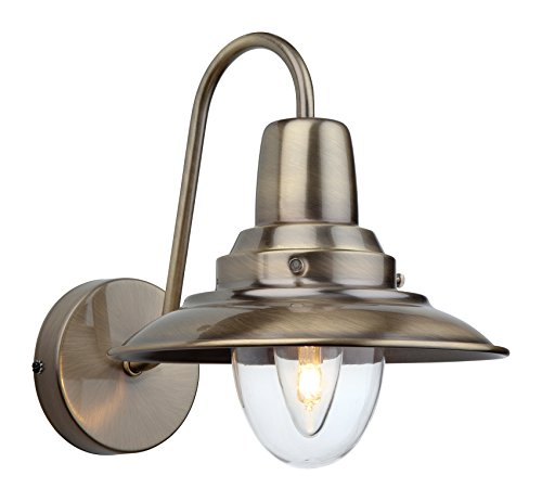 Firstlight 8686 ab E14 kleine Edison-Schraube 40 Watt Fisherman 's Wandleuchte - parent messing antik-optik - Messing Semi Flush