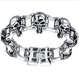 Aoiy Herren-Armband, Große und Schwere Schädel Fahrrad-Kette, Edelstahl, 22,1cm, ccb001