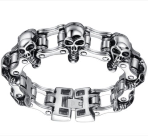 Aoiy Men's Stainless Steel Gothic Skull Bicycle Chain Large and Heavy Biker Bracelet, 22.1cm, ccb001 - Acciaio Inossidabile Braccialetto Del Cranio