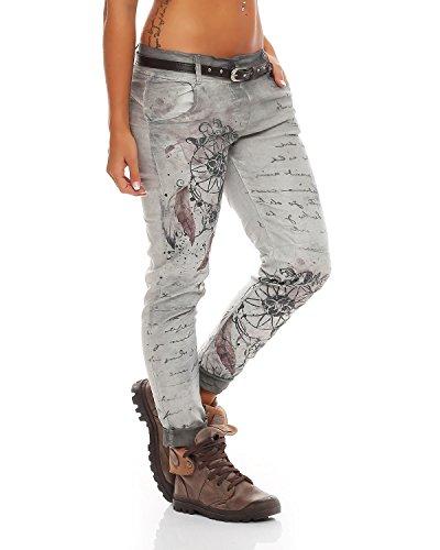 ZARMEXX Ladies Boyfriend Baggy Pants Jeans Jeggings Stretch Chinos 10912 Letter-Fantasy -Stampa Grigio