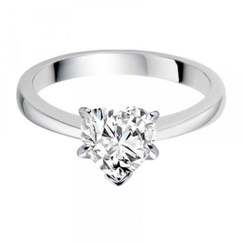 Diamond Manufacturers, Damen, Verlobungsring mit 0.41 Karat F/VS1 feinem und zertifiziertem Herzdiamant in Platin - 4