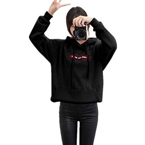 Amlaiworld Winter damen warm sweatshirt mode dick Camping Mäntel locker Freizeit Kapuzenpullover Freizeit Lang outdoor pulli (XXXL, Schwarz) (Hohe Baumwolle Pullover Crewneck)