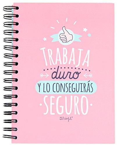 """Mr. Wonderful WOM00268 - Libreta con diseño """"Trabaja duro y lo conseguirás seguro"""", A5, color rosa"""