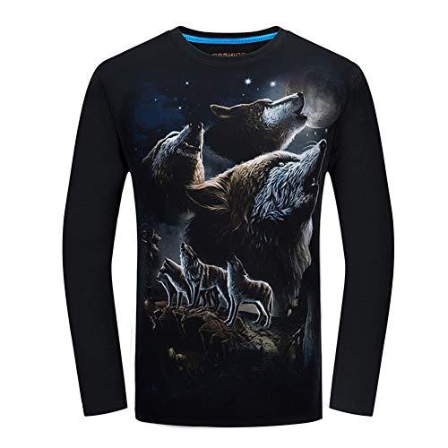 WQWQ Wolfskopf, Hemd mit Animal-Print, 100% Baumwolle, Sweatshirt mit funktioneller Passform für Kinder Erwachsene X XL XXL,A,S - Kinder-erwachsenen-sweatshirt Mit Rundhalsausschnitt