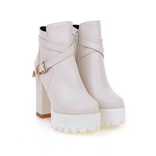 VogueZone009 Damen Reißverschluss Hoher Absatz Rein Wasserdicht Plattform Stiefel Cremefarben