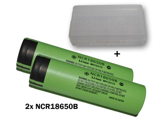Panasonic Industriezelle ungeschützt Lithium-Ion Akku (3400mAh, 3,7V, 2er Pack) Button-Top (Panasonic 18650)
