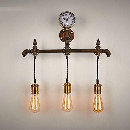 &Wohnzimmer Flur Schlafzimmer Wandleuchte Industrielle Loft Metall Wasser Wandleuchte ausgesetzt Edison Glühbirne (3 Lichter) &Kabellose Wandleuchte