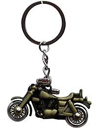 Classic Bullet Bike Green Metal Keychain