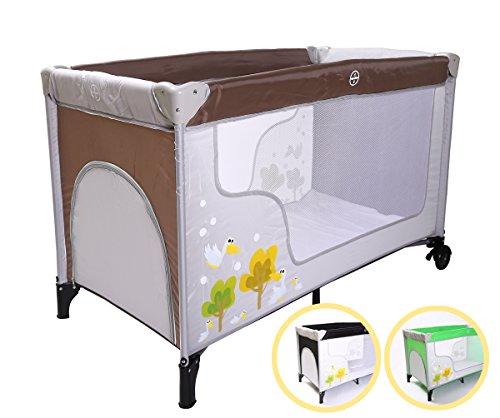 Preisvergleich Produktbild Kidmeister Baby Reisebett, Kinderbett klappbar, mit Rollen, Matratze NEU (Braun)