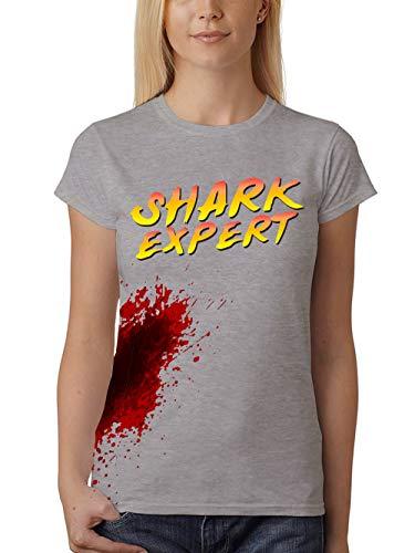 clothinx Damen T-Shirt Fit Shark Expert Kostümshirt Grau Gr. - Surfer Girl Kostüm