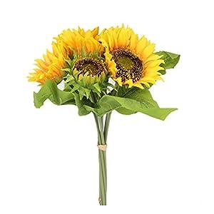 Famibay – Flores Artificiales de Girasol, Tela, A-Amarillo, 1 Bouquet