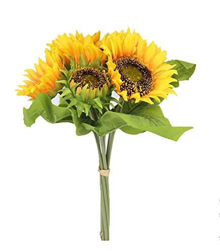 Famibay fiore artificiale 7 steli seta mazzi di girasole finti per decorazioni bomboniere (arancio)