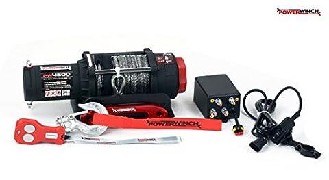 Elektrische Seilwinde PowerWinch 4500lbs ATV 12V 2040kg Funk UTV Quad Kunststoffseil
