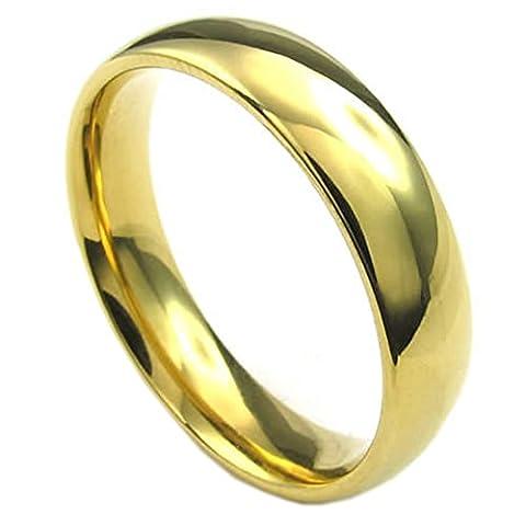 KONOV Schmuck Herren-Ring, Damen-Ring, Edelstahl, 5mm, Gold - Gr.