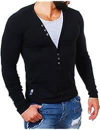 Carisma Herren 2in1 double Look Longsleeve T-Shirt langarm deep v-neck tiefer V-Ausschnitt slim fit Kontrast Optik tee 3003