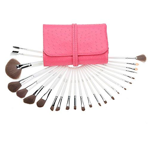 Abody 24Pcs Kit Pinceau Maquillage Professionnel Brosses Cosmétiques Manche en Bois avec Sac PU