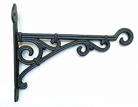 Cast Iron Ornate Hanging Flower Basket Bracket Hook in 3 colours (28cm) (Black)