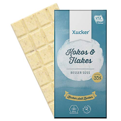 Preisvergleich Produktbild Xucker Schokolade ohne Zuckerzusatz mit Xylit,  Kokos und Weizenflakes,  100g Tafel,  Weißolade