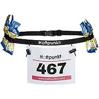 Haftpunkt Cinturón número de Carreras (con 6 Hebillas elásticas) - para Fijar y Sujetar el Dorsal de Carrera - cinturón de Carreras para maratones, triatlón o Ciclismo (Negro)