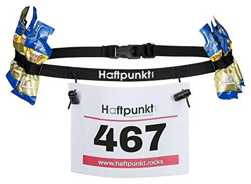 Haftpunkt Startnummernband (incl. 6 Gel Halter) zur Startnummer Befestigung - der Startnummerngürtel zum Einsatz bei Triathlon oder Marathon (schwarz) -