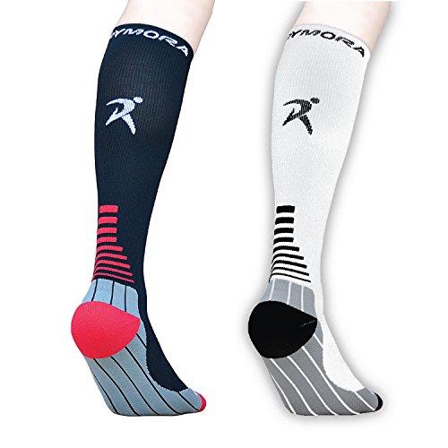 Calze a compressione (imbottito, a compressione, Unisex per Uomo e Donna) by rymora Sport, Black (One Pair), M