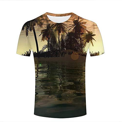 Men 3D Printed Fashion T-Shirts Palm Trees and Sea Beach Theme Casual Short Sleeve Shirts Novelty Tees XL (Volcom-zeichen)