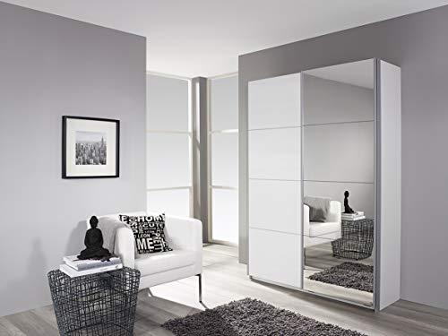 Rauch Möbel Minosa, Schrank Kleiderschrank Schwebetürenschrank mit Spiegel  2-türig, inklusive Zubehörpaket Basic 2 Einlegeböden 2 Kleiderstangen, Weiß, 61 x 181 x 197 cm